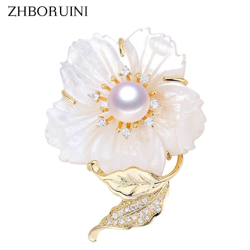 ZHBORUINI Fine Jewelry Natural Freshwater Pearl Brooch Shell Flower Brooch Pins Natural Seashell Pearl Jewelry Women Corsage