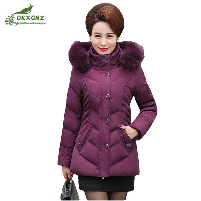 Winter Down cotton Outerwear Women middle-aged new fox fur collar thick jacket coat women large size warm coat female OKXGNZ