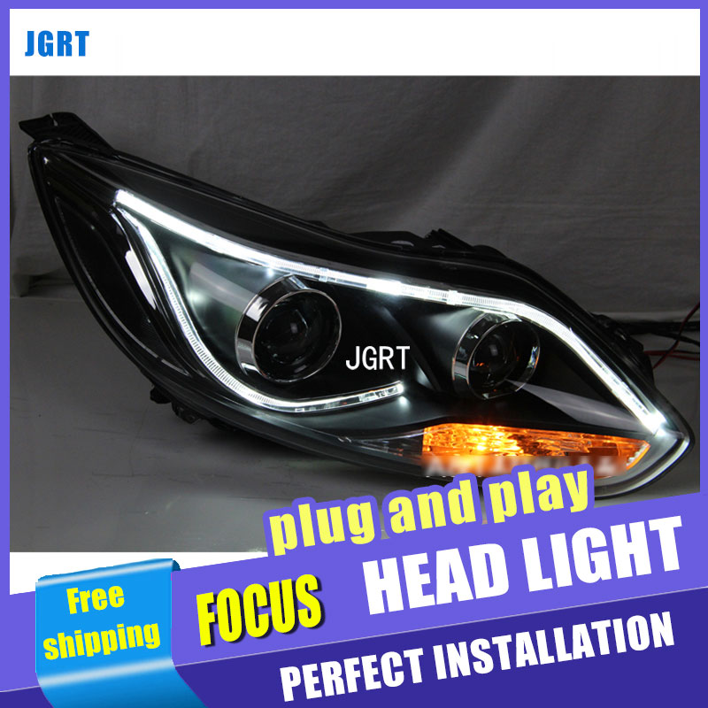 A&T Car Styling for TLZ Ford Focus LED Headlight Focus3 Headlights DRL Lens Double Beam H7 HID Xenon bi xenon lens akd car styling angel eye fog lamp for xv led drl daytime running light high low beam fog automobile accessories