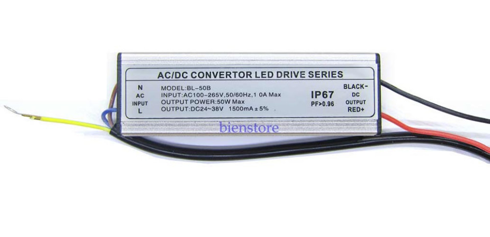 Input AC 100V~265V Out DC 22~38V 1500mA Waterproof Power Supply LED Driver For 50W LED Spotlight