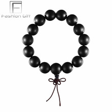 Black Ebony Wood Beads Bracelets for Men Women Chinese Ethnic Bracelet Jewelry Natural Wood Stand Rope Chain Bracelet