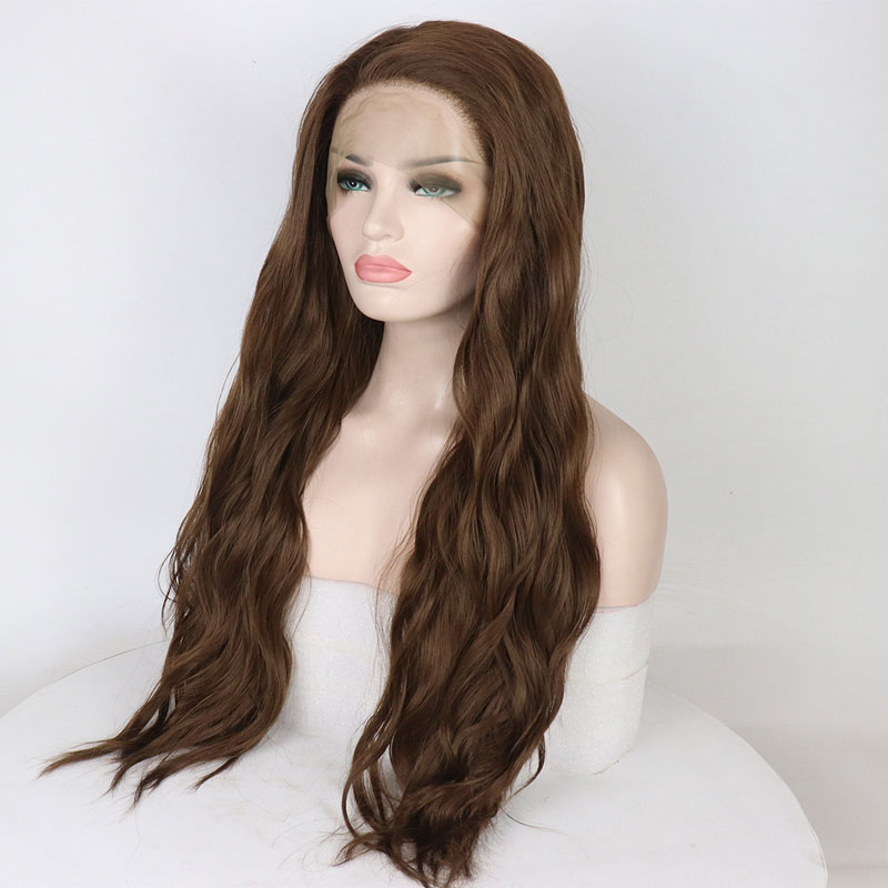 Bombshell Natural Wave Hand Tied Synthetic Lace Front Wig 180 Heavy Density Dark Brown Heat Resistant
