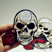 Rose Skull Clothes Embroidered Iron on Patches
