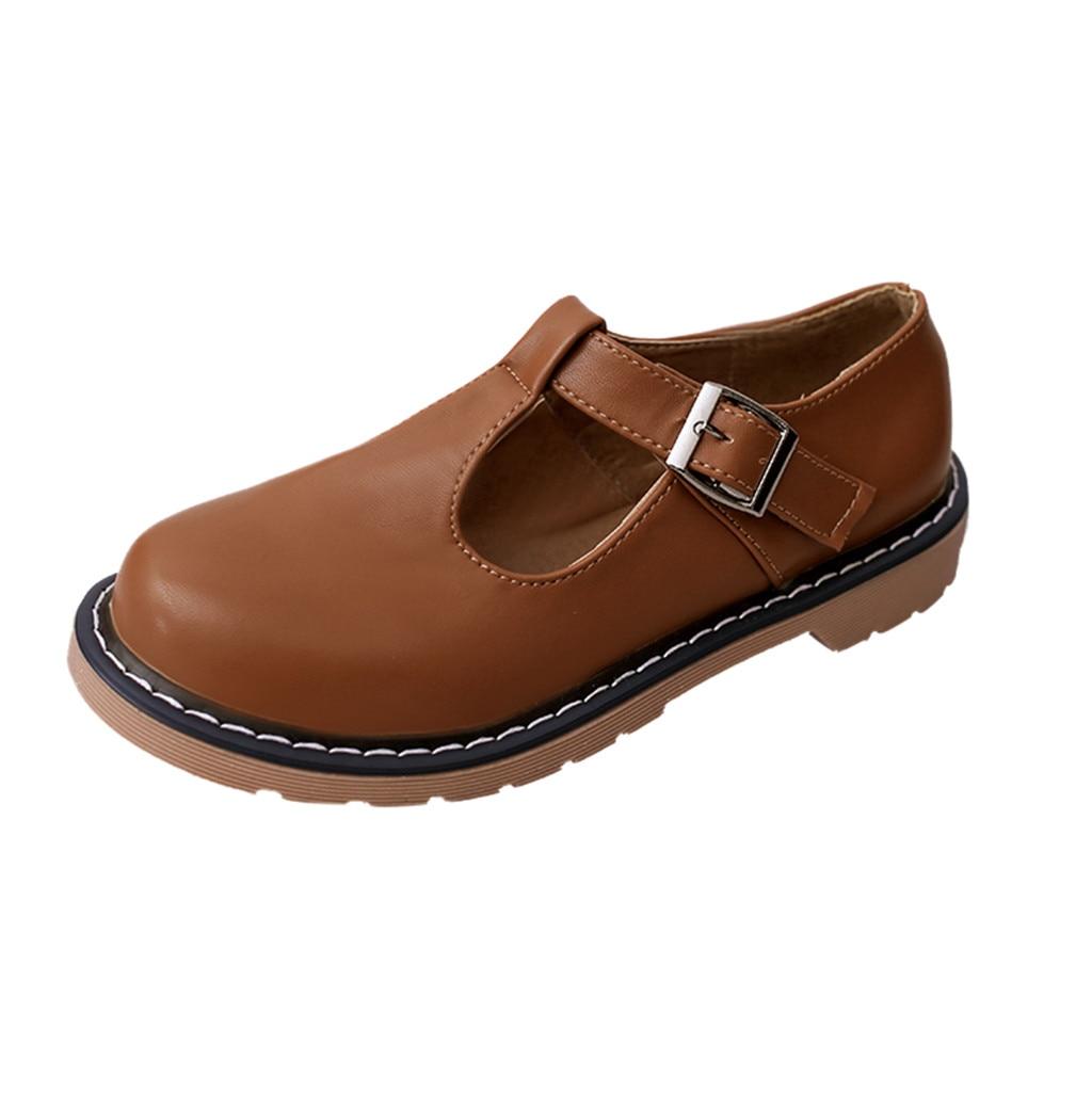 MUQGEW Shoes Female Shoe-Ankle-Leather Round-Toe Low-Heeled Retro Vintage Fashion Women's