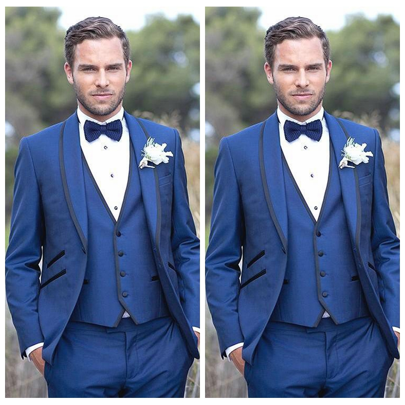 1f028f0048e0 Vintage Country Formal Blue Men Wedding Tuxedos Custom Groom Groomsman  Party Suits Mens Normal Casual Wear (Jacket+Vest+Pants)