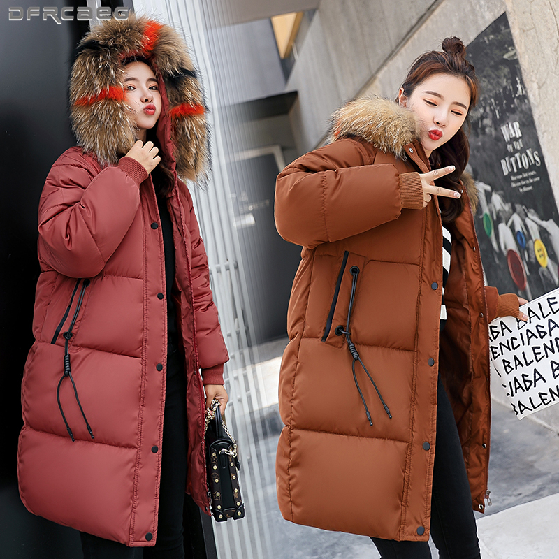 2018 Winter Long   Parka   Women Vintage Big Fur Collar Warm Jacket Pockets Button Plus Size Loose Outerwear Hoodies Ladies Coats