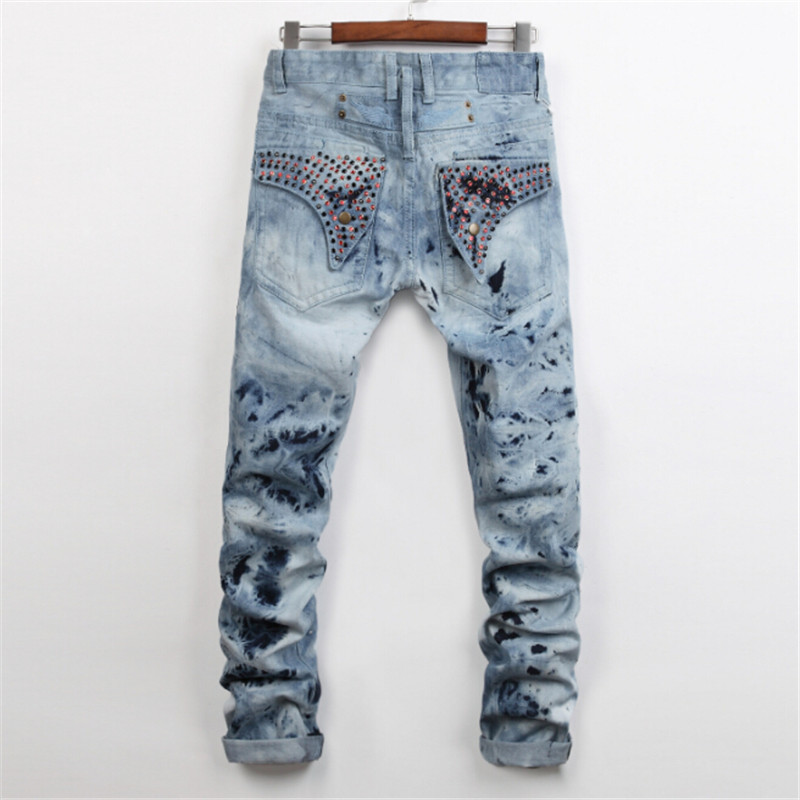 ФОТО 2017 new spring fashion high quality printing ink hot nail bead mens jeans SLIM STRAIGHT JEANS