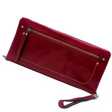 100 Oil Wax Cowhide Leather Women Wallet Phone Pocket Purse Wallet Female Card Holder Lady Clutch