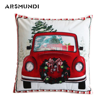 Vintage Merry Christmas Cushion Covere Printed Woven Fashion Living room sofa cushion cover Home use bed Decorative Pillow Case