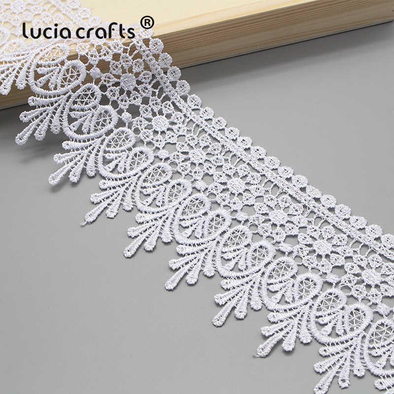 Lucia crafts 1y/2y 9 см черный/белый вышитая Сетка кружевная ткань отделка ленты DIY Швейные материалы ручной работы для поделок N0508