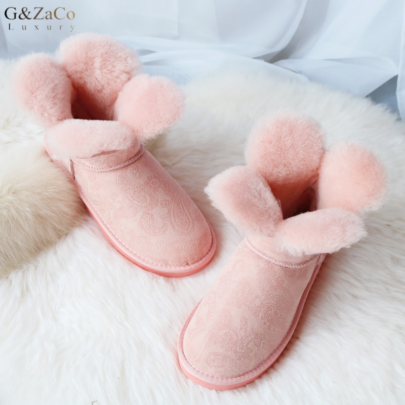 G&Zaco Sweet Clover Flower Short Sheepskin Snow Boots Natural Wool Shearling Winter Ankle Boots Women Sweet Boots Winter Shoes купить в Москве 2019