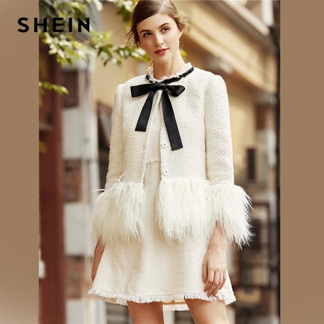 f7cc245e22 SHEIN White Elegant Office Lady Faux Fur Trim Tweed Bow Neck Single  Breasted Highstreet Blazer Autumn