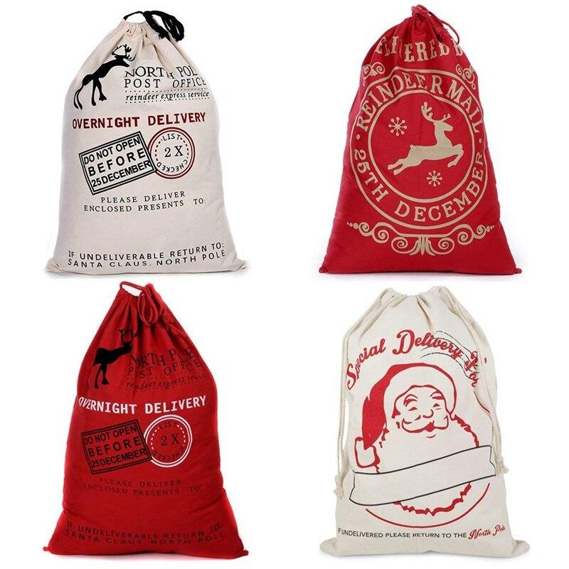 Vintage Hessian Christmas Santa Sack Stocking Burlap Gift Present Large Jute Xmas Gift Bags
