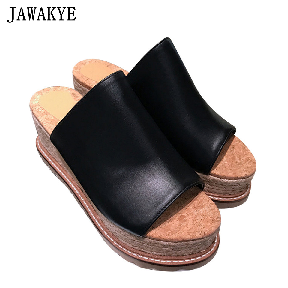 New Peep Toe Genuine Leather clear slides Platform slippers Women Thick High heel Slip on mules Beach Slippers Caged Shoes Woman
