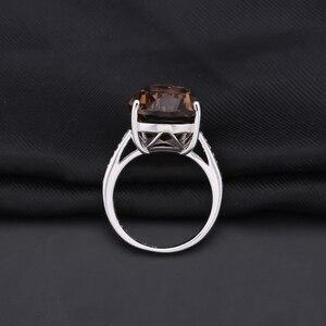 Image 3 - Mücevher bale 10.68ct doğal dumanlı kuvars taş kokteyl yüzük kadınlar için 925 ayar gümüş nişan yüzük güzel takı