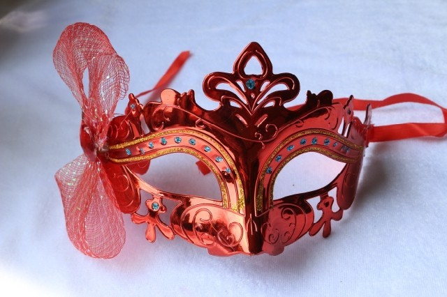 Masquerade princess mask feather red male Women cutout colored drawing mask lace