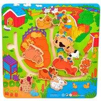 Children Baby 3D Puzzle Farm Animal Maze Child Wooden Toys Maze Farm Grab Educational Toys Maze