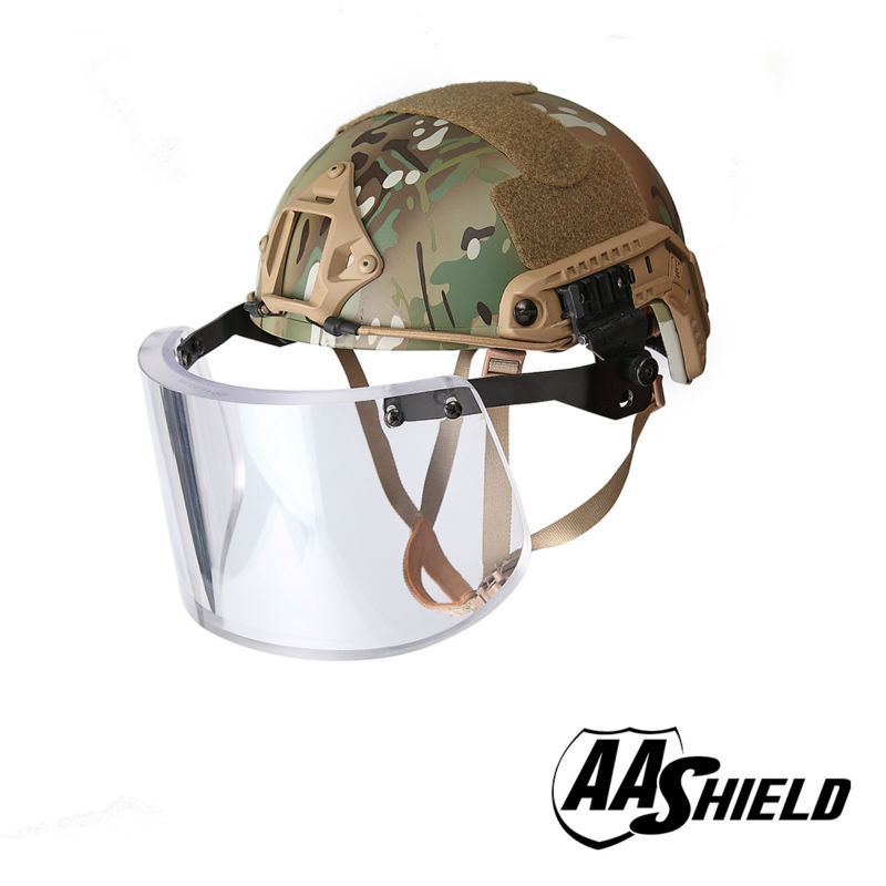 AA Shield Ballistic ACH High Cut Tactical Safety Helmet Bulletproof Glass Mask Body Armor Aramid Core NIJ IIIA 3A Kit MC