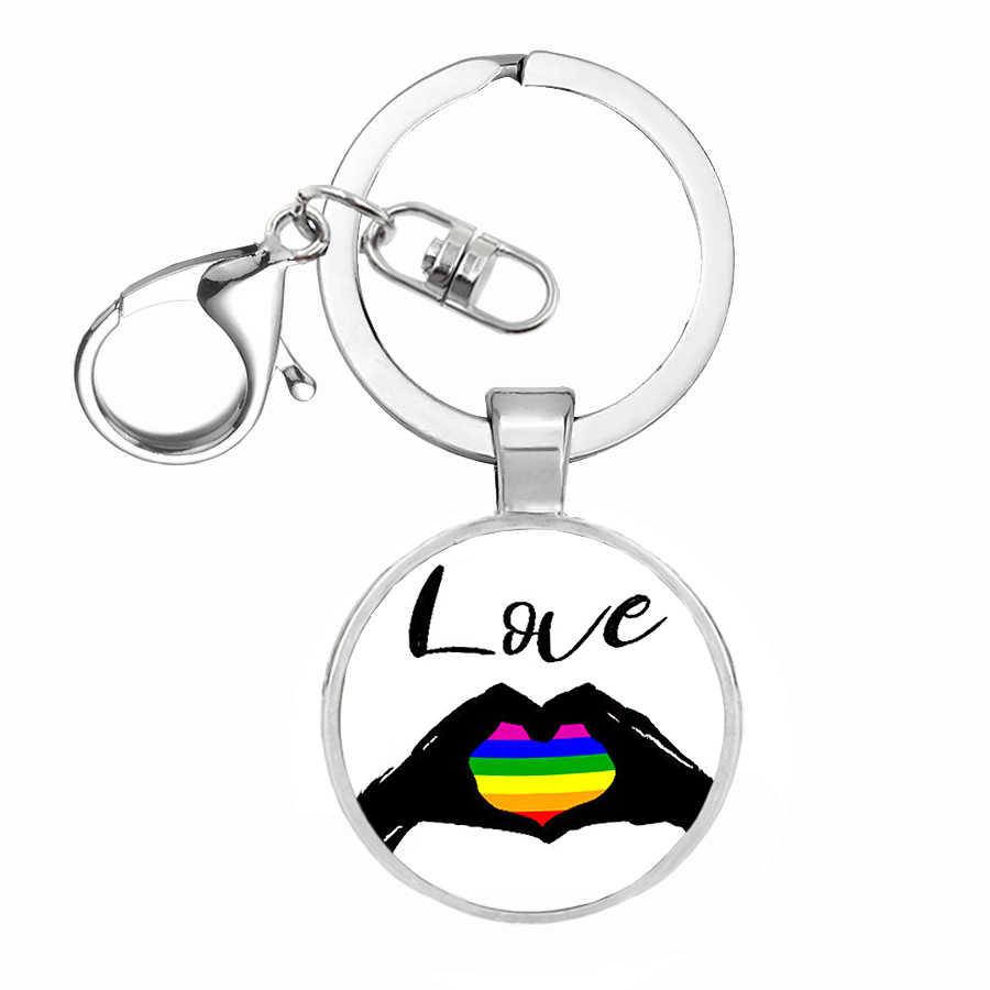 84 stijl Regenboog Vlaggen Glas Dome Sleutelhanger Lesbische Gay LGBT Pride Vlag Auto Sleutelhanger Verzilverd Metalen Sleutelhanger llavero Thanos