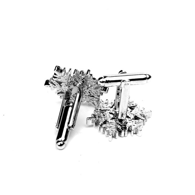 Fashion Romantic Crystal Snowflake Flower Wedding Cufflinks