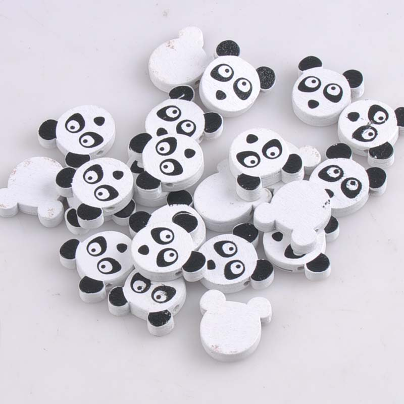 20mm 20pcs Mixed Panda Paintied Wooden Beads For Kids Jewelry Making Mt1417x Mild And Mellow
