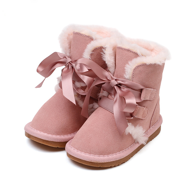 ФОТО 2-6 Years Old High Quality 2016 New Winter Fashion Leather Snow Boot Children Warm Lace-UP Shoes Girl Boots 2 Colors BS-K3