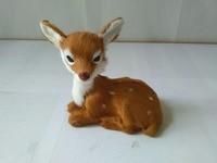Simulation Prone Sika Deer 12x8x13cm Model Polyethylene Real Furs Deer Handicraft Figurines Prop Home Decoration Toy