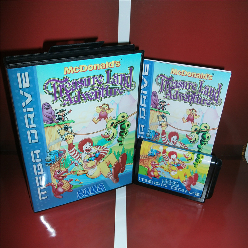 Mcdonald's Treasure Land Adventure EU Cover with box and manual For Sega Megadrive Genesis Video Game Console 16 bit card