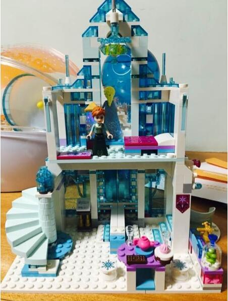 цены Model building kits compatible with lego city 25002 Elsa`s Magical Ice Castle Set Building Blocks Bricks Toys Girl friend 41148