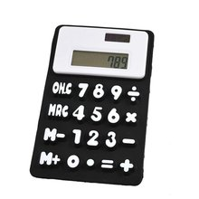 Durable Black White 8 Digits Refrigerator Magnetic Silicone Foldable Calculator