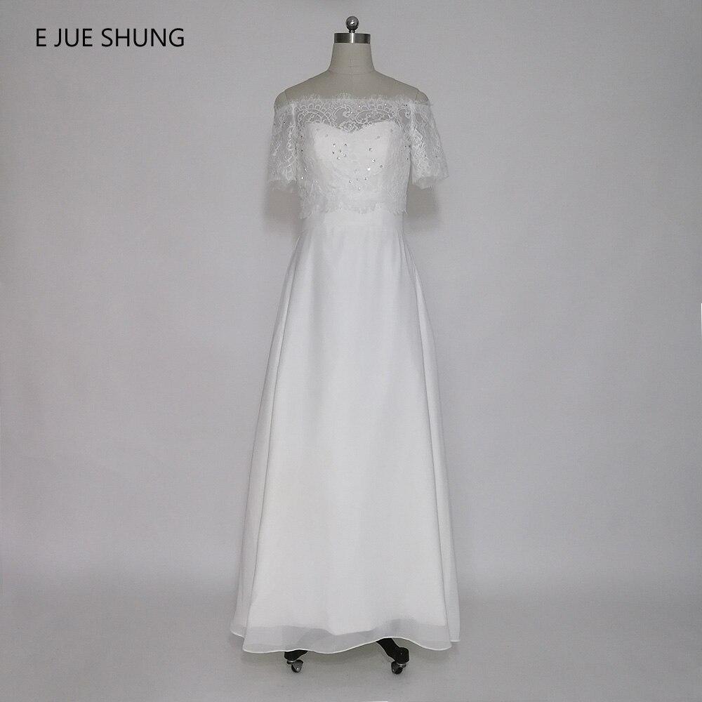 E JUE SHUNG White Lace Tea Length Beach Wedding Dresses Off the Shoulder Half Sleeves Wedding Gowns vestido de noiva curto