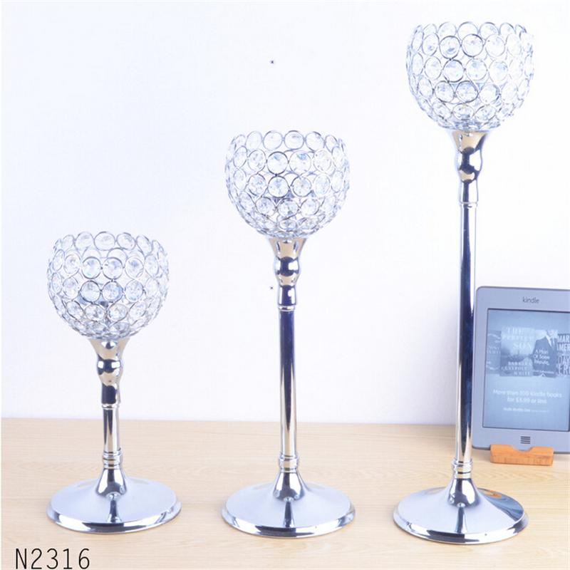 Modern luxury metal silver plated candle holder with