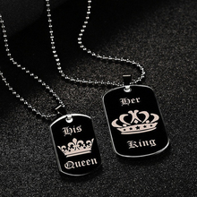 Fashion 1Pc King/Queen Crown Black Card Lover Couple Pendant Necklace/Keychain Trendy Letters Jewelry Gift