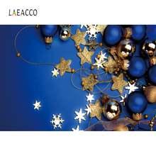 Laeacco голубой сплошной цвет Рождественский шар звезда снежинка