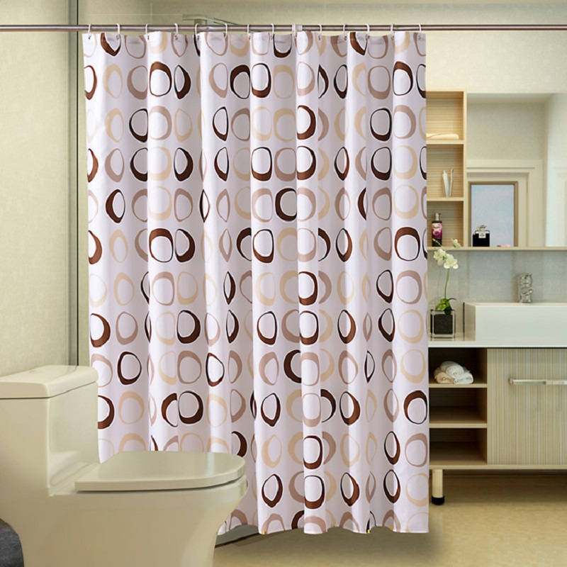 Caffee Circle Shower Curtain 3D Waterproof Mildew shower curtains Modern Fabric Polyester Bath curtain with hooks For Bathroom