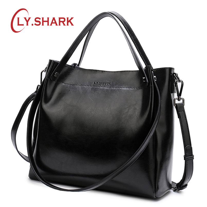 LY.SHARK Ladies' Genuine Leather Handbag Shoulder Bag Female Women's Handbags Bags For Women 2019 Crossbody Bags For Women-in Shoulder Bags from Luggage & Bags