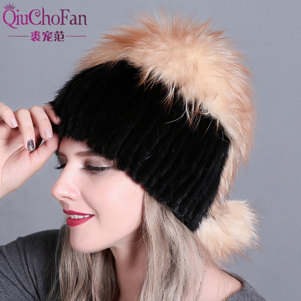 QiuChongFan 2018 new female fur hat woman winter ski cap warm protection ear mink and fox
