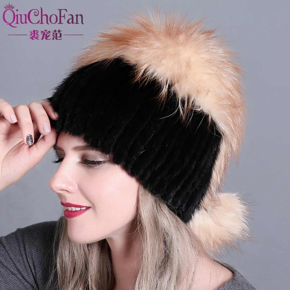 b6b3f7746b3 QiuChongFan 2018 new female fur hat woman winter ski cap warm protection  ear mink and fox