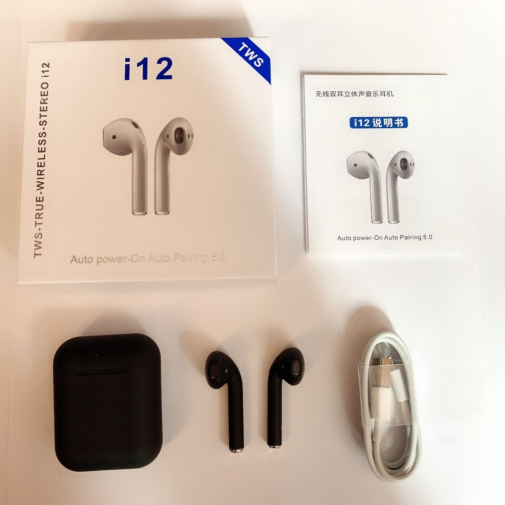 i12 TWS 2019 Bluetooth Earphone 1:1 Mini Wireless earphone Touch Control Binaural Call Earbuds PK i14 i10 i88 For iPhone Android