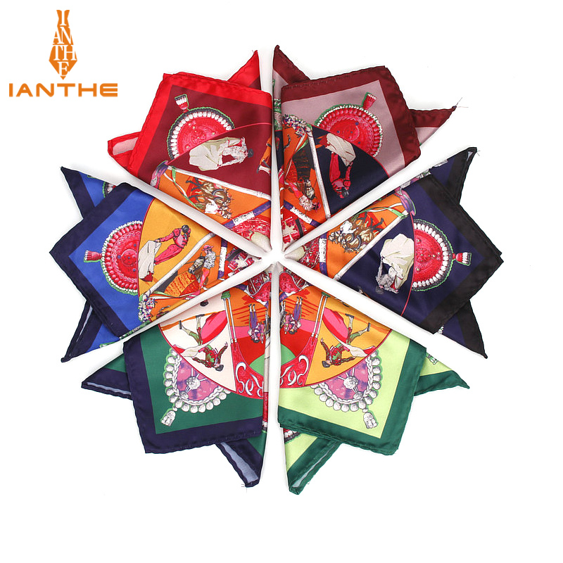 Men's Brand Handkerchief Vintage Printed Pocket Square Soft Silk Hankies Wedding Party Business Hanky Chest Towel Gift 24*24CM