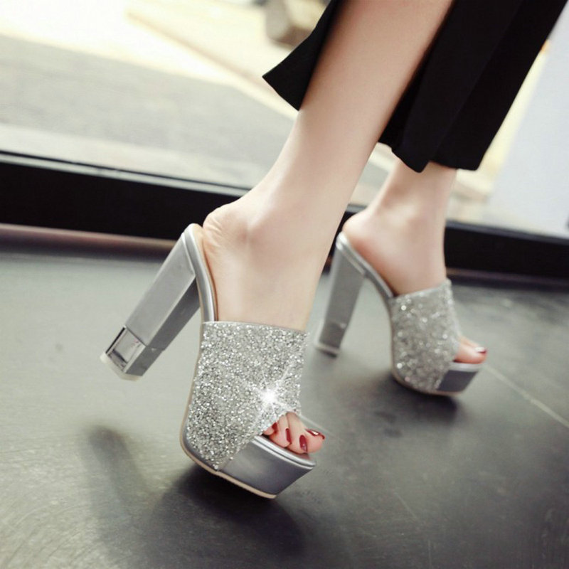 Detail Feedback Questions about ZawsThia summer block high heeled sequined  glitter platform sandals peep toe bling woman slippers fashion dress shoes  lady ... 3ba0e646ae67
