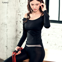 Spring AutumnTracksuits Set Women Off The Shoulder Top + Legging Pant 2 PCS GYM Running Yoga Sport Suits Woman TH201202