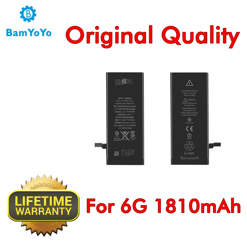 10pcs--(Original Quality)--Battery For iPhone 6 6G Battery 0 Cycle 1810mAh Internal Lifetime Warranty Superior Performance