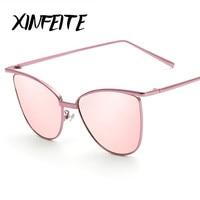 XINFEITE Rosa Das Mulheres óculos de Sol Olho De Gato Cateye Sombra Marca 2017 Designer de Óculos de Sol Moda Feminina Retro Piloto óculos de sol Oculos HD
