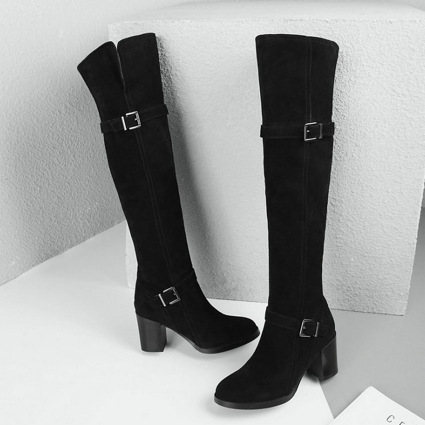 2019 Vinlle Femmes Taille De Hauts Sur Genou À 39 Haut Tous Les Bottes Noir Carré Le Talons Mode 34 D'hiver Chaussures Zipper Match dqq58FxRr