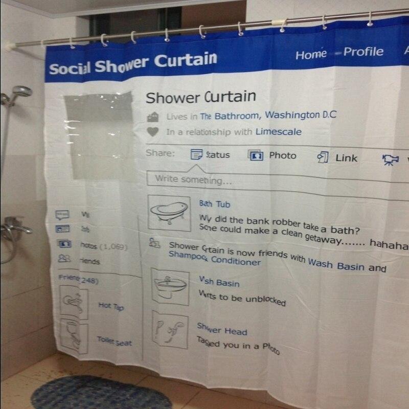 Social Shower Courtain.Us 40 15 Bathroom Polyester Waterproof Bath Curtain Fabric Social Facebook Bathtub Shower Curtains Cortina Cucha 180 180cm 12 Hooks Yl16 In Shower