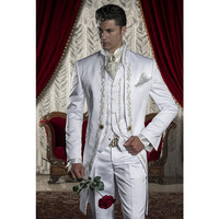 Classic Style White Embroidery Groom Tuxedos Groomsmen Men's Wedding Prom Suits Custom Made (Jacket+Pants+Vest+Tie)