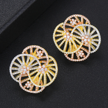SISCATHY Trendy Full Cubic Zirconia Inlaid Dubai Indian Jewelry Women Earrings Flower Shape Stud