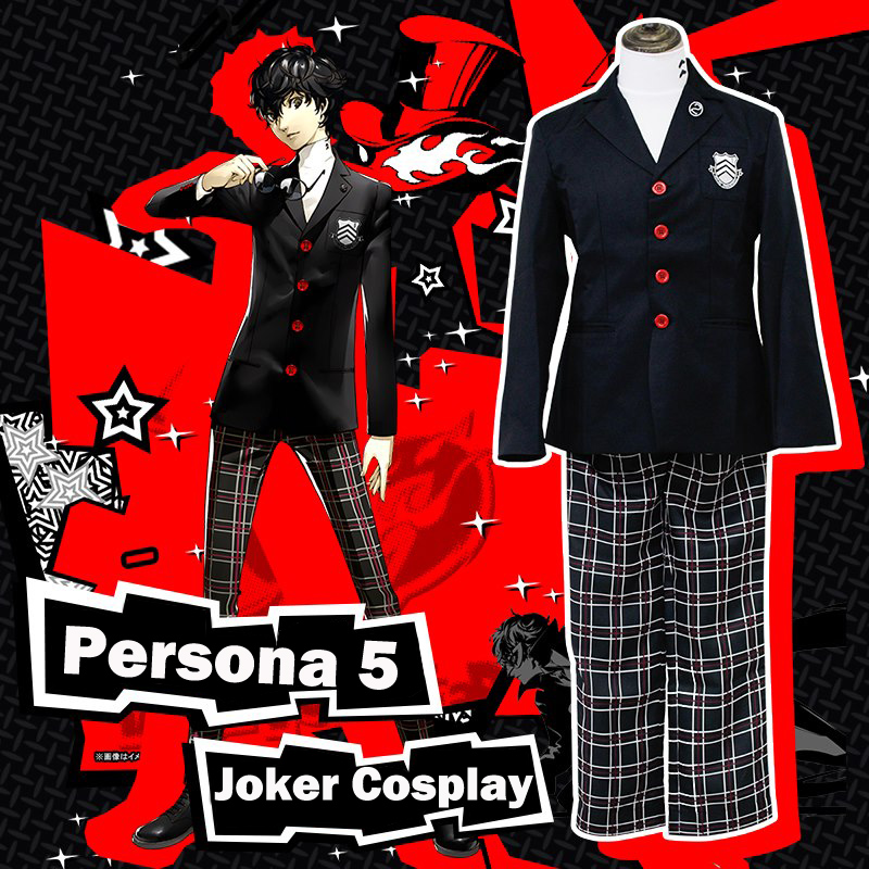 Coshome Anime Persona 5 Joker Akira Kurusu Cosplay Costume Men Women Top Pants Set School Girls Uniforms For Halloween Party