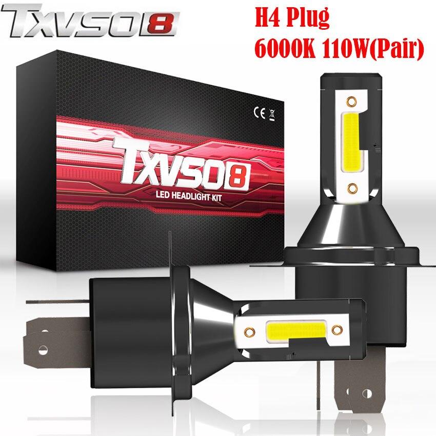 TXVSO8 2 PCS LED H4 Auto Glühbirnen Flip COB Chips-13000LM Paar 6000 K (Pack von 2) scheinwerfer Birne 55 W/Birne Autos Scheinwerfer